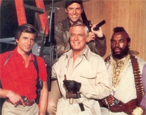 THE A TEAM: L-R: Face, Murdock, B.A & (front) Hannibal